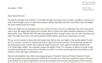 Reaching New Highs | Client Letter | November 7, 2019