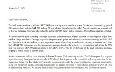 Client Letter | The Bull Market Continues | September 2, 2021